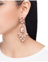 Rose gold designer earrings with crystals