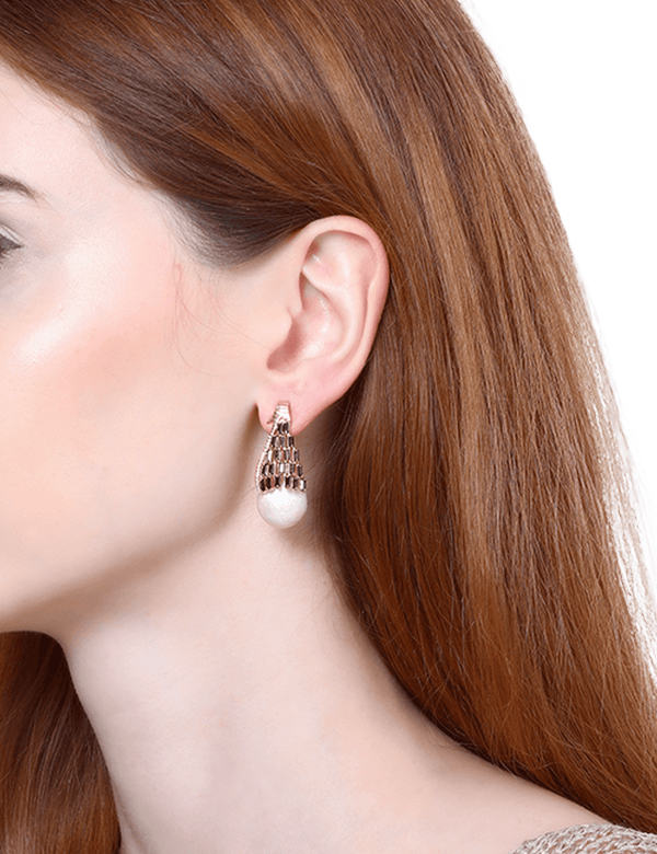 Rose gold earrings with black crystals