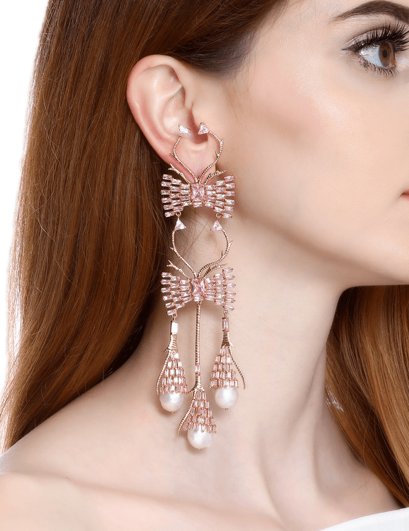 Rose gold earrings with pink crystals