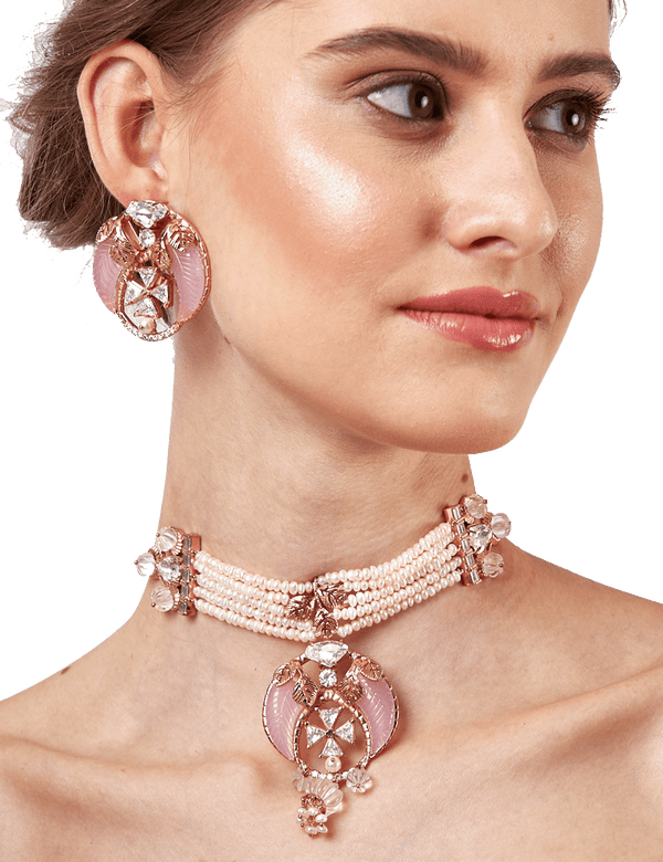 Rose gold pearl earrings online