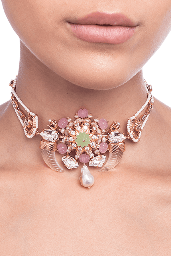 Women's choker in rose gold plating