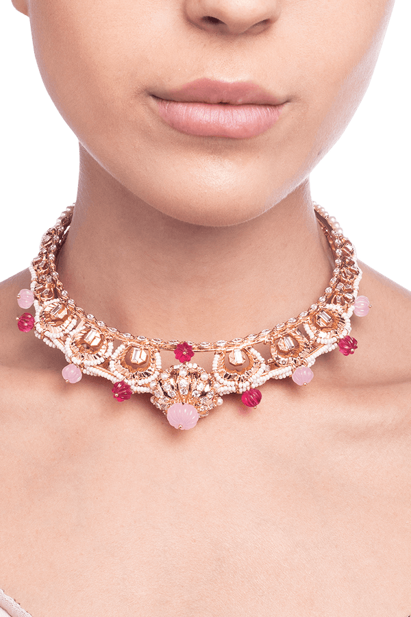 Women's rose gold choker with crystals