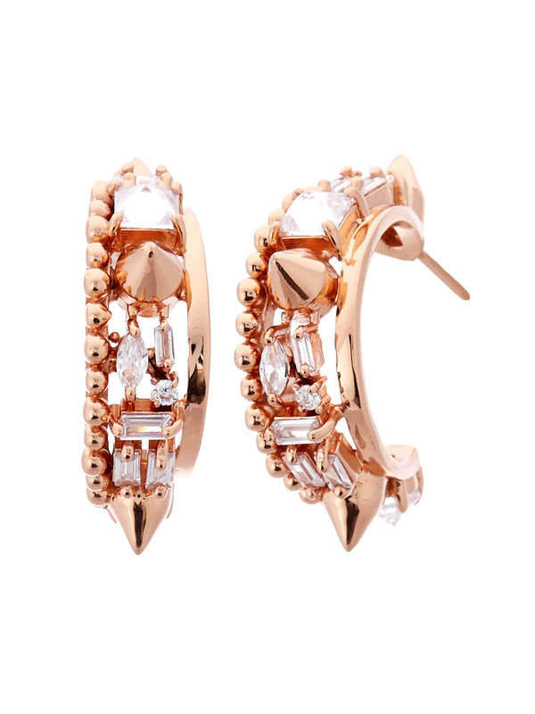 Women's rose gold hoop earrings
