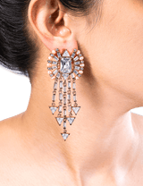 Women's tassel earrings with crystals