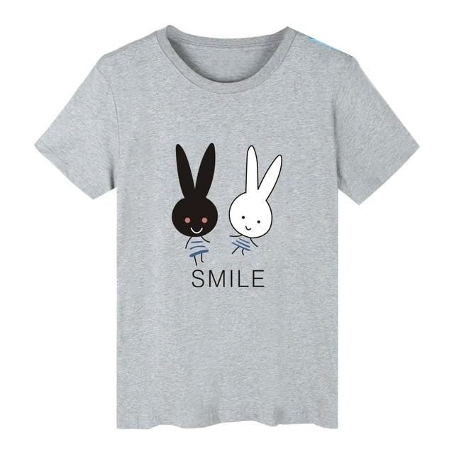 "Rabbit-Themed ""SMILE"" T-Shirt - Assorted Colours"