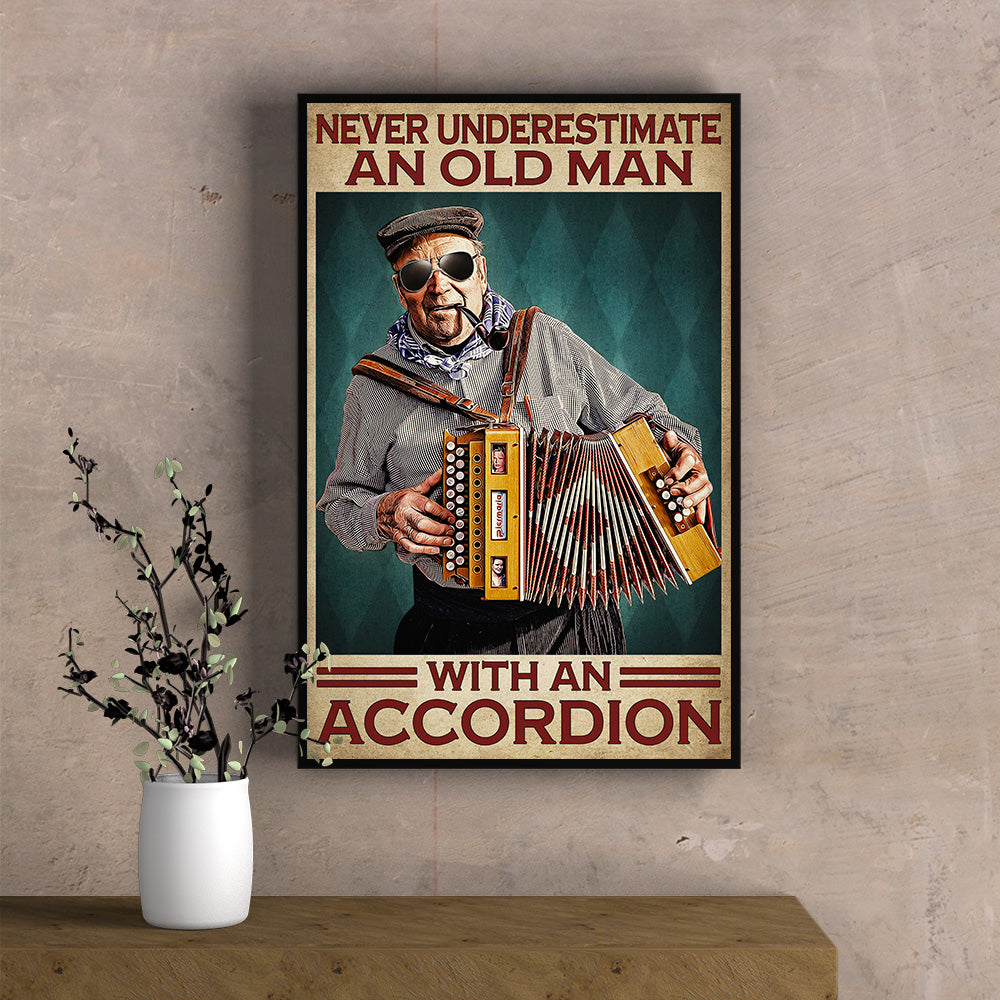 An Old Man With Accordion Poster