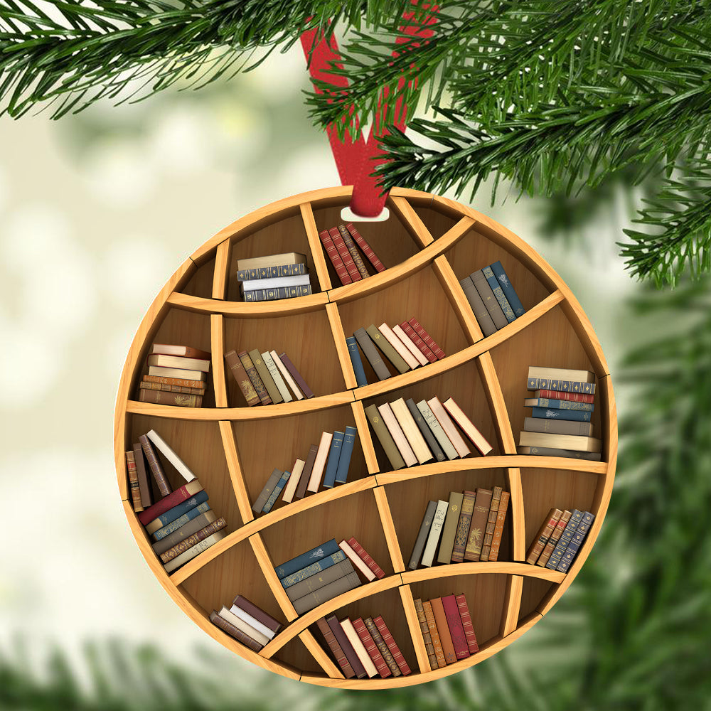 Globe Bookshelf Christmas Ornament