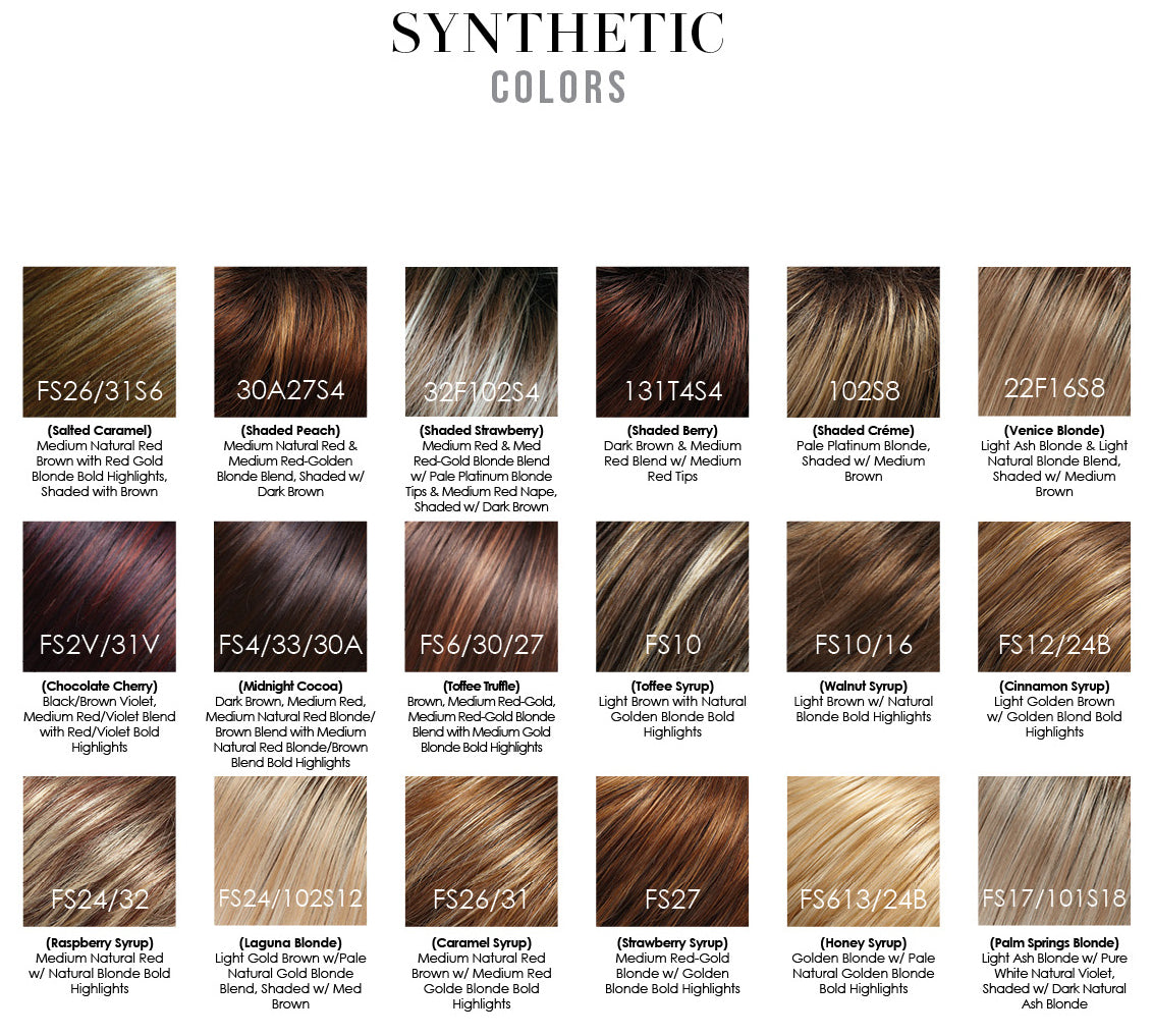 Jon Renau synthetic smartlace collection wig colors - colori parrucche sintetiche radici scure rooted