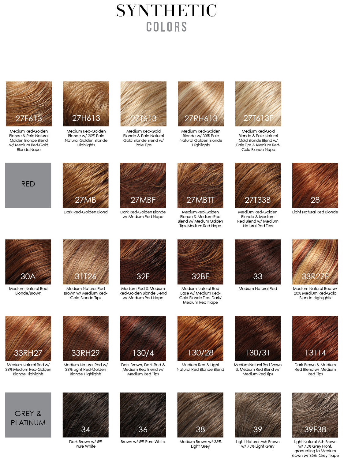 Jon Renau synthetic smartlace collection wig colors - colori parrucche sintetiche rosse red