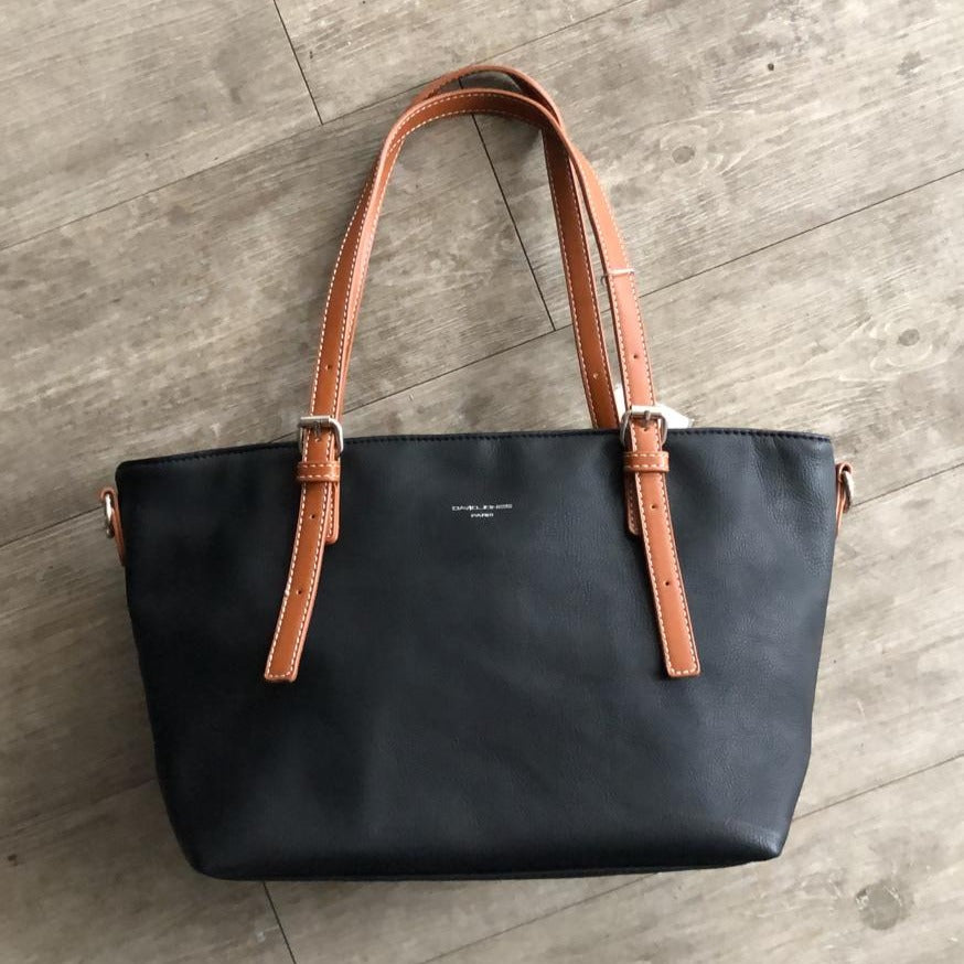 David Jones Small Tote with Tan Handle