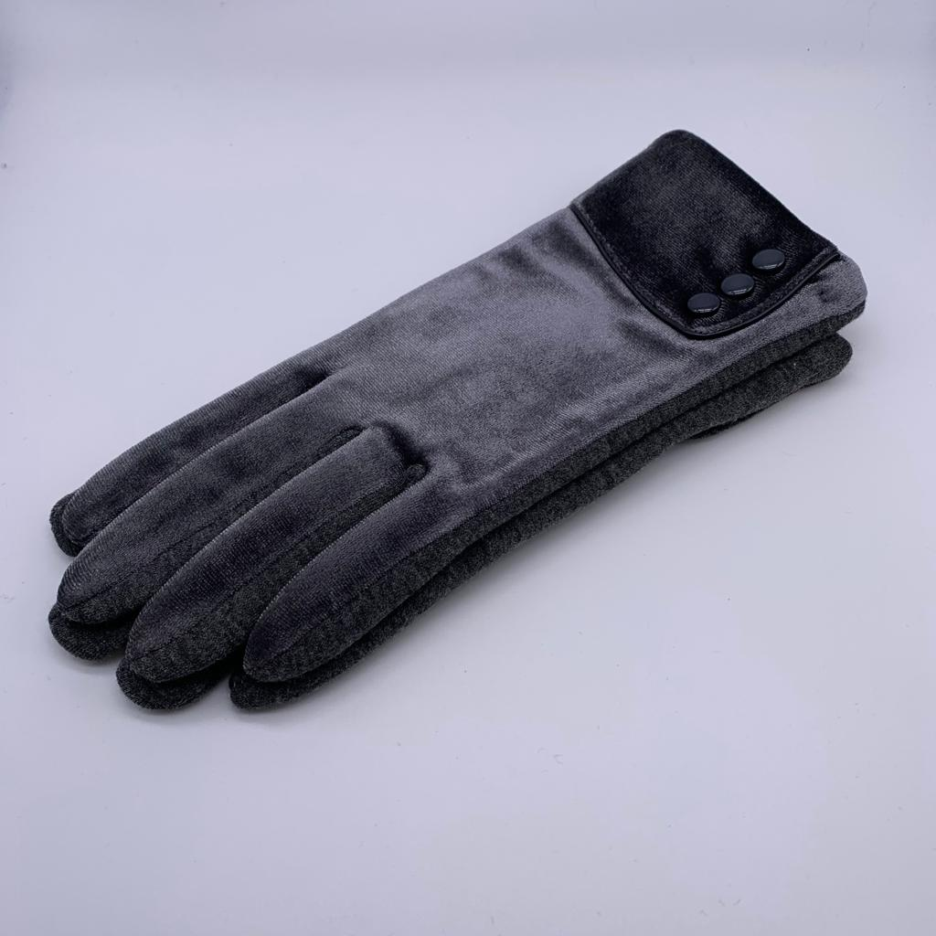 Glove - Velvet with buttons in Grey or Navy
