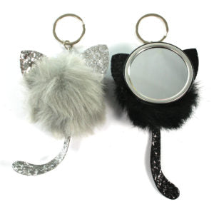 Keyring - Cat and Mirror - in Grey and Black