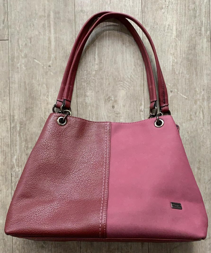 David Jones Dark Red Leather / Suede Look Handbag