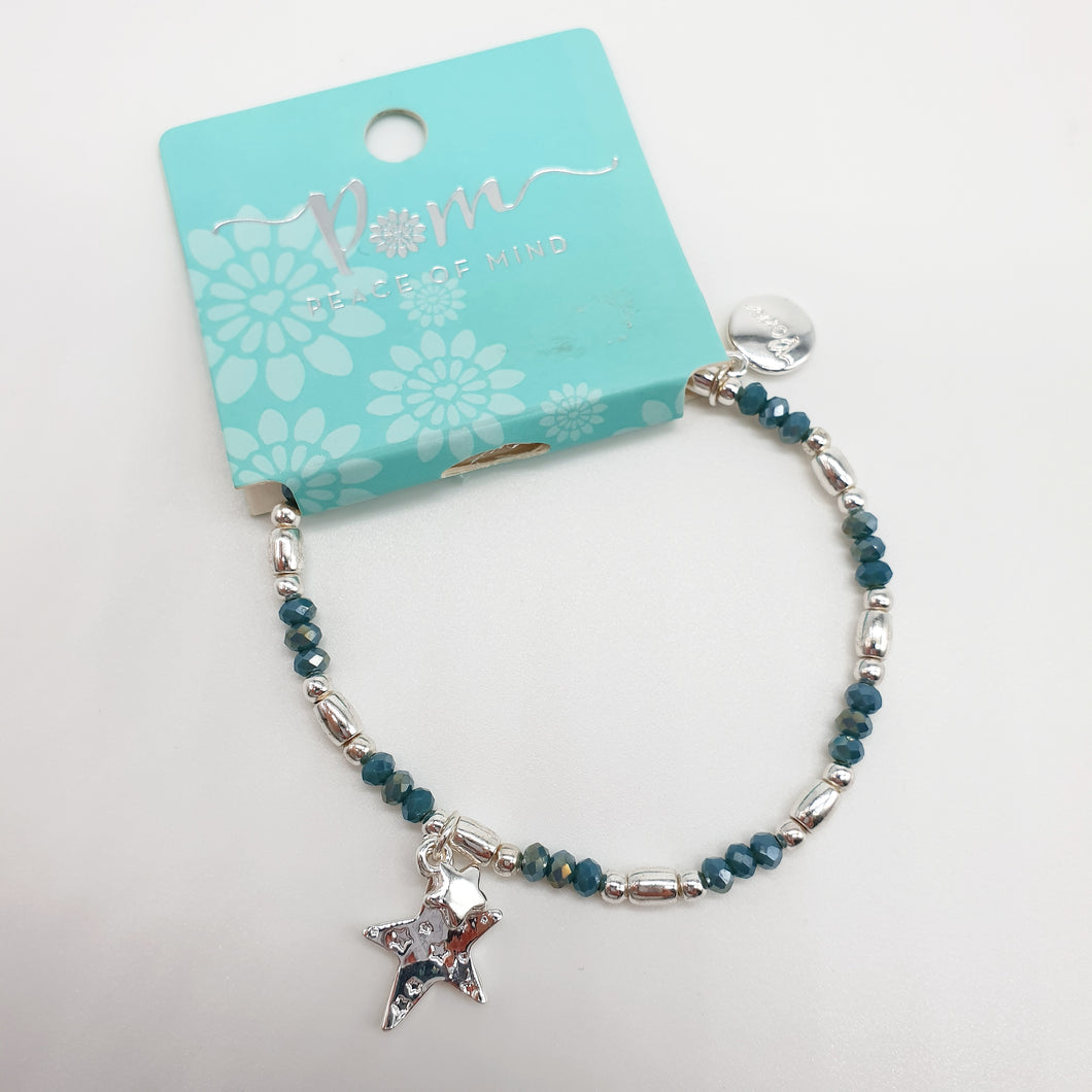 POM Blue Beaded And Silver Plate Bracelet With Star Charms
