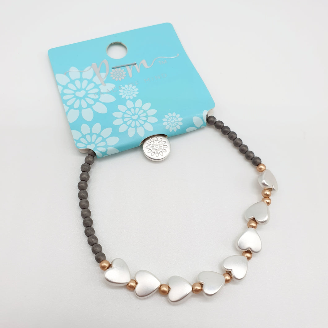 POM Grey Bead Silver Metallic Hearts Bracelet