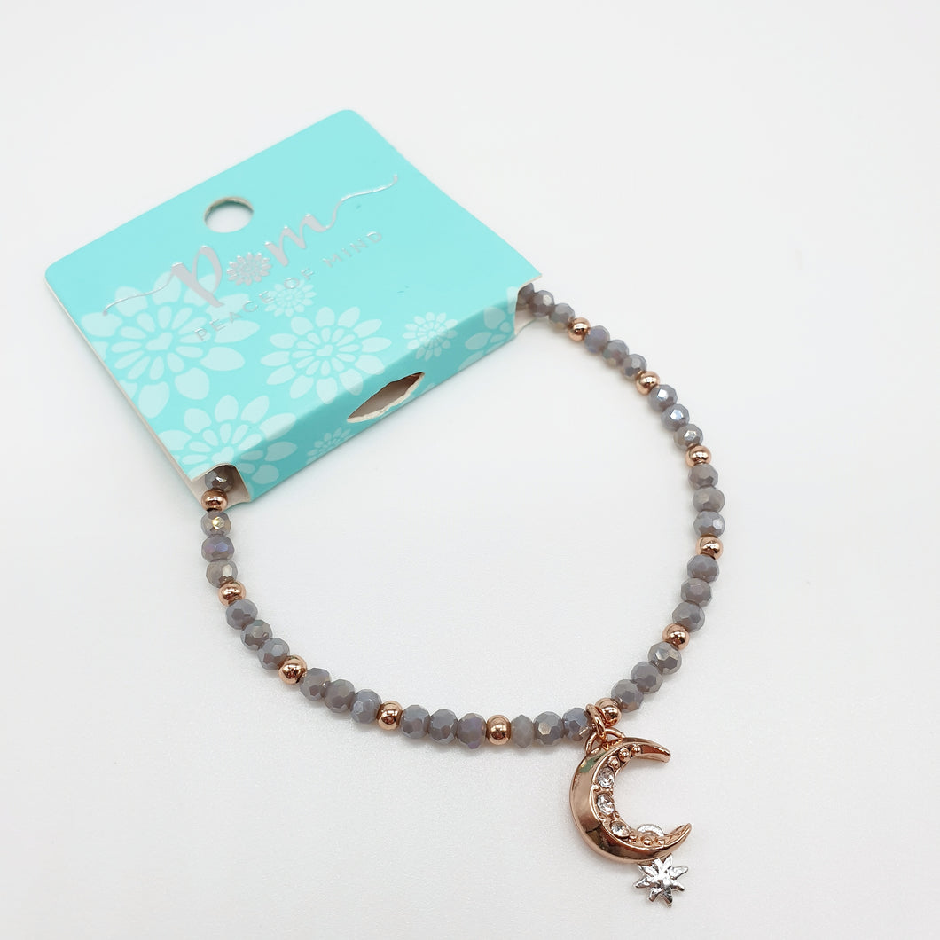 POM Rose Gold Moon and Star Grey Bead Bracelet