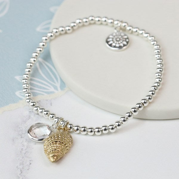 POM Silver plated bracelet with golden shell and crystal
