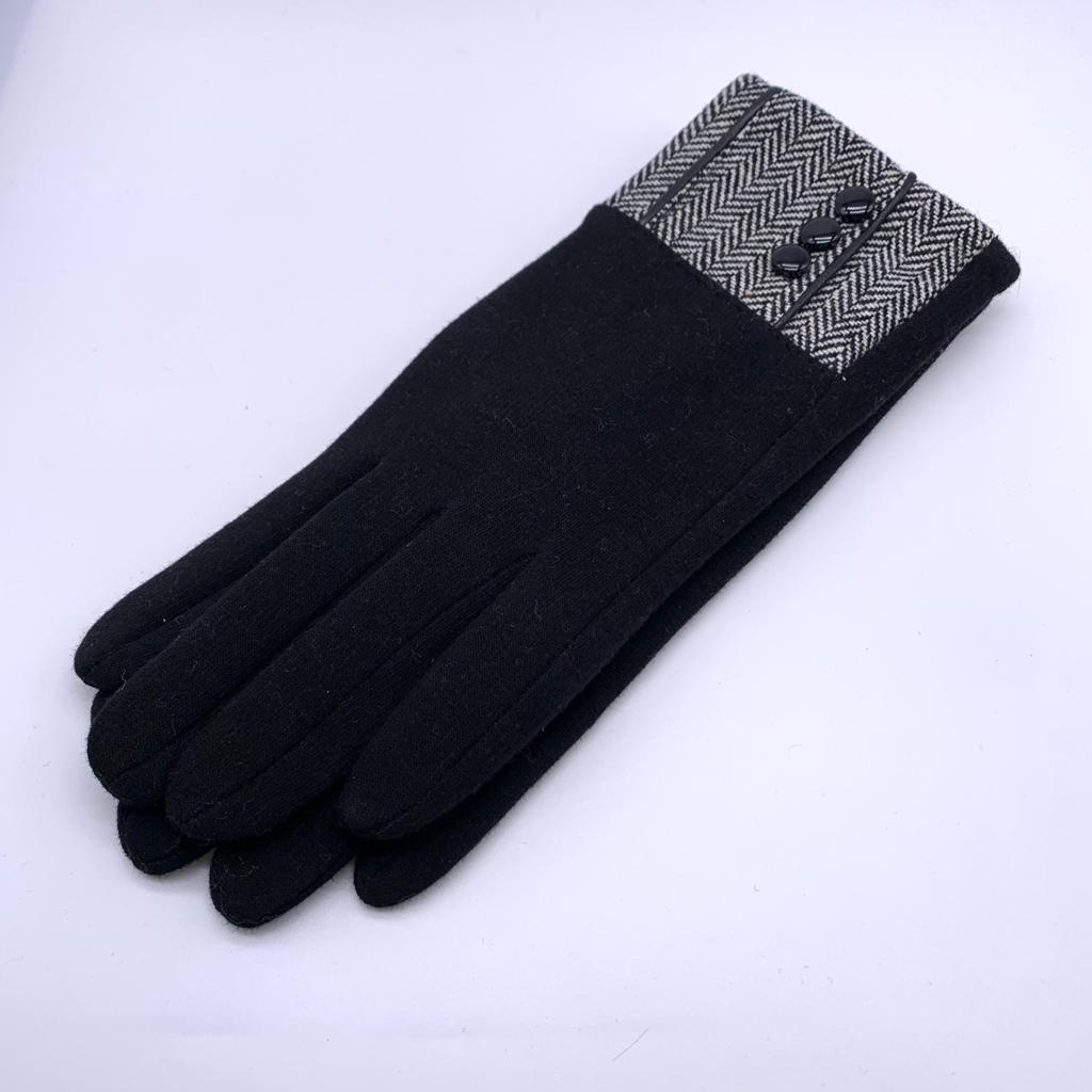 Gloves - Ladies Lined with Dog Tooth Cuff - Assorted Colours