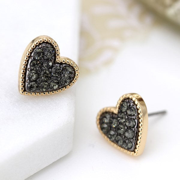 POM Gold plated heart stud earrings with black crystal centre
