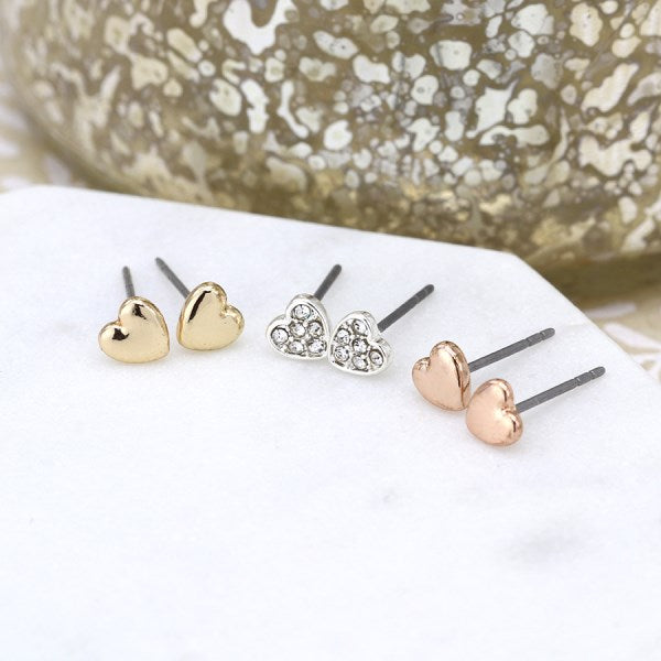 POM Triple heart earring set in gold, rose gold and silver plating with crystals