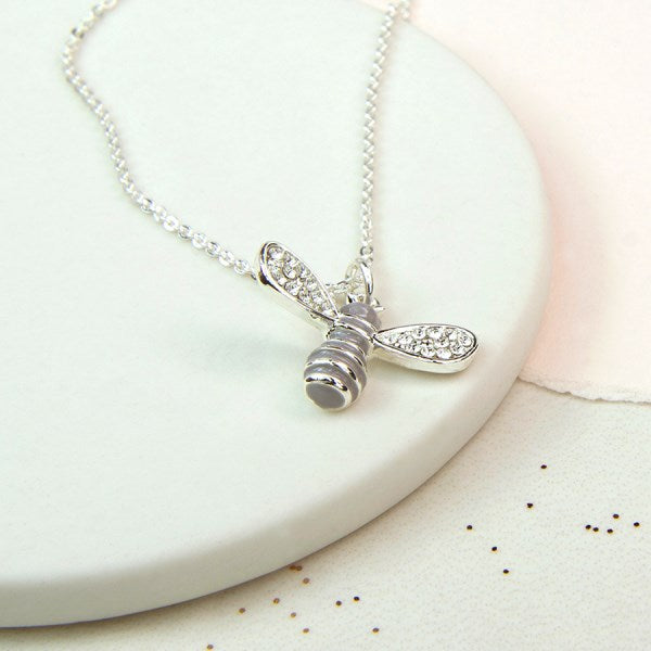 POM Silver plated enamel bee necklace with crystal wings
