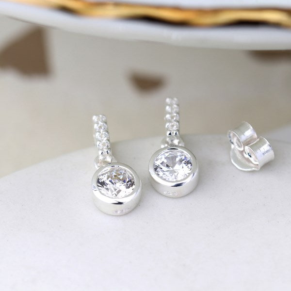 POM Sterling silver and CZ crystal bar and drop earrings