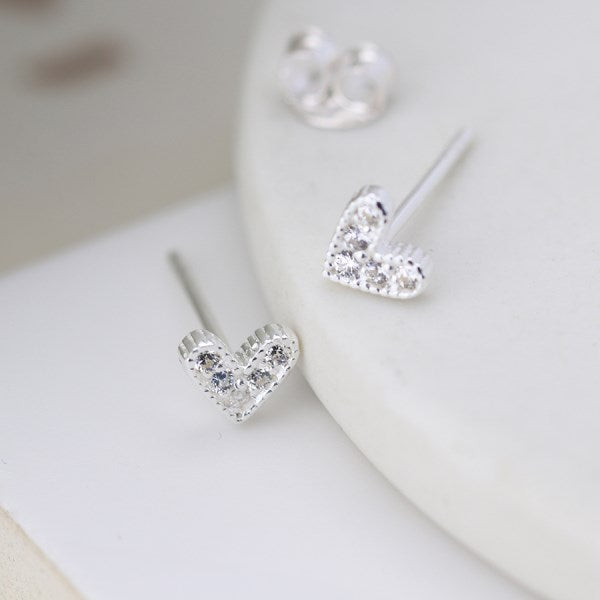 POM Sterling silver tiny heart stud earrings with crystals