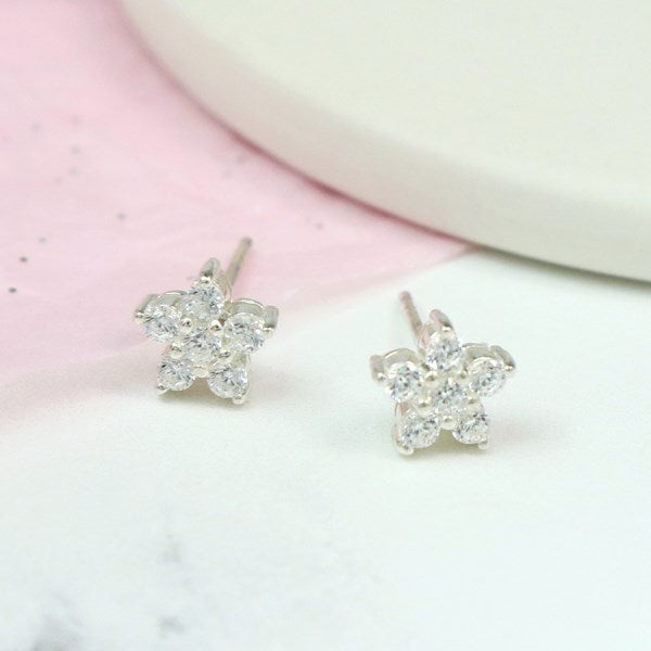 POM Sterling silver and CZ crystal starflower stud earrings