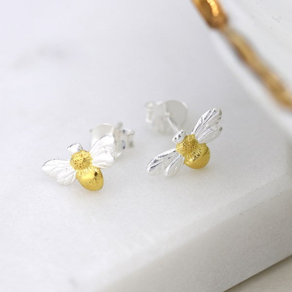 POM Sterling silver bee stud earrings with gold detailing