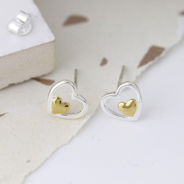 POM Sterling silver double heart stud earrings with gold detailing