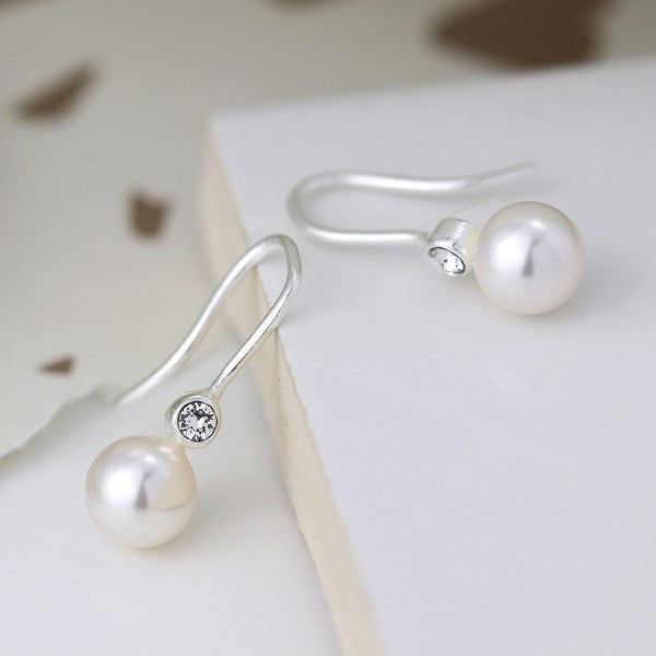POM Sterling silver pearl drop earrings with crystals