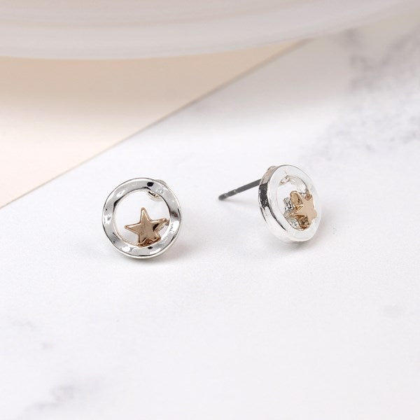 POM Silver plated circle stud earrings with rose gold star