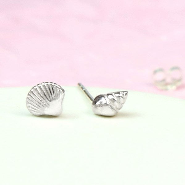 POM Sterling silver mismatched shell stud earrings