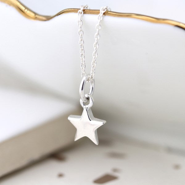 POM Sterling silver little star pendant on a fine silver chain
