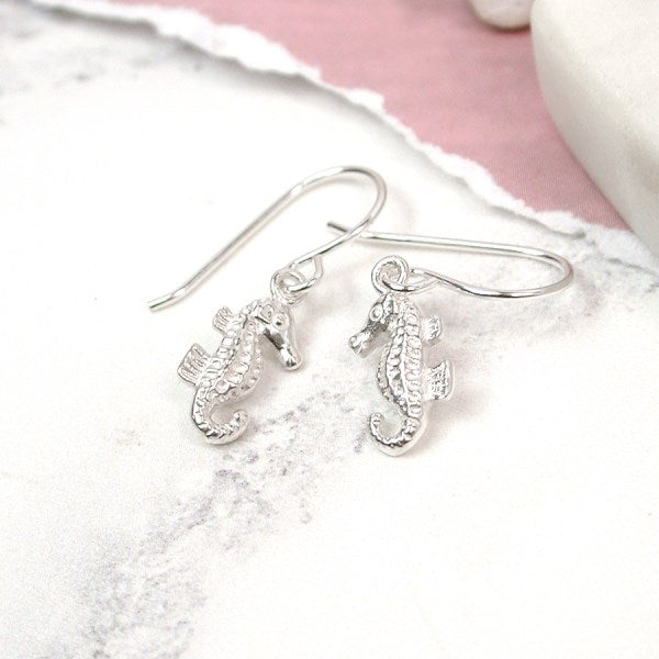 POM Sterling silver seahorse drop earrings on silver hooks