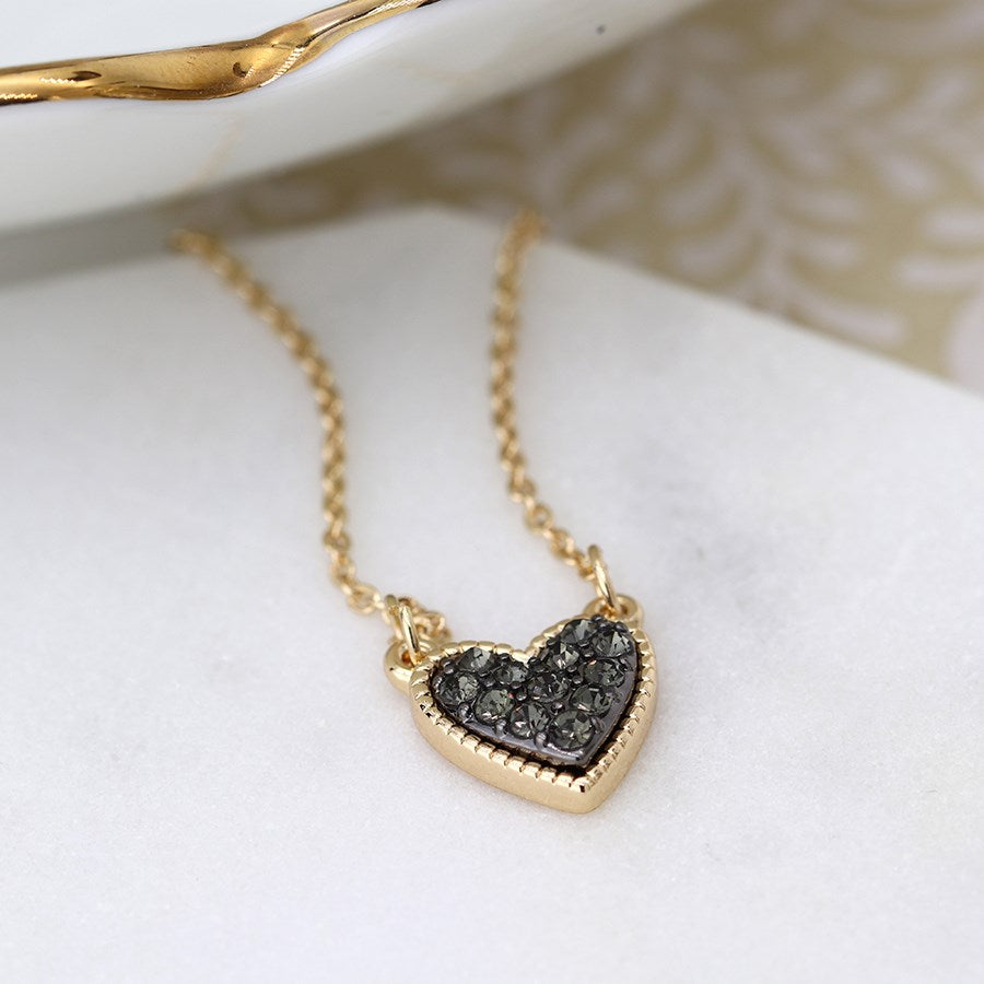 POM Gold plated heart necklace with black crystal centre