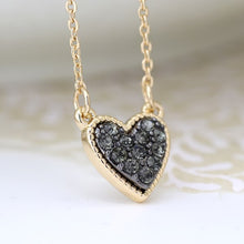 Load image into Gallery viewer, POM Gold plated heart necklace with black crystal centre
