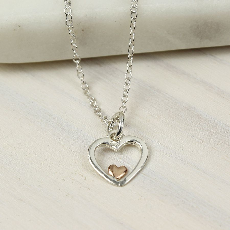 POM Silver And Rose Gold Heart Necklace