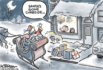 Curbside Santa — Cartoon Print