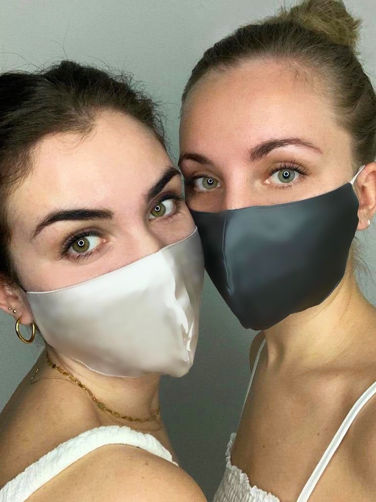 Pink silk face mask