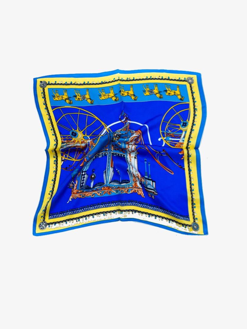 Blue wagons printed silk scarf