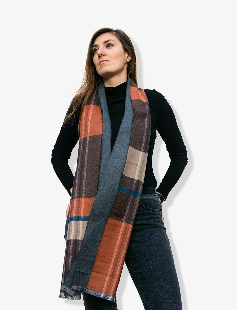 Rust Orange Silk Winter Scarf