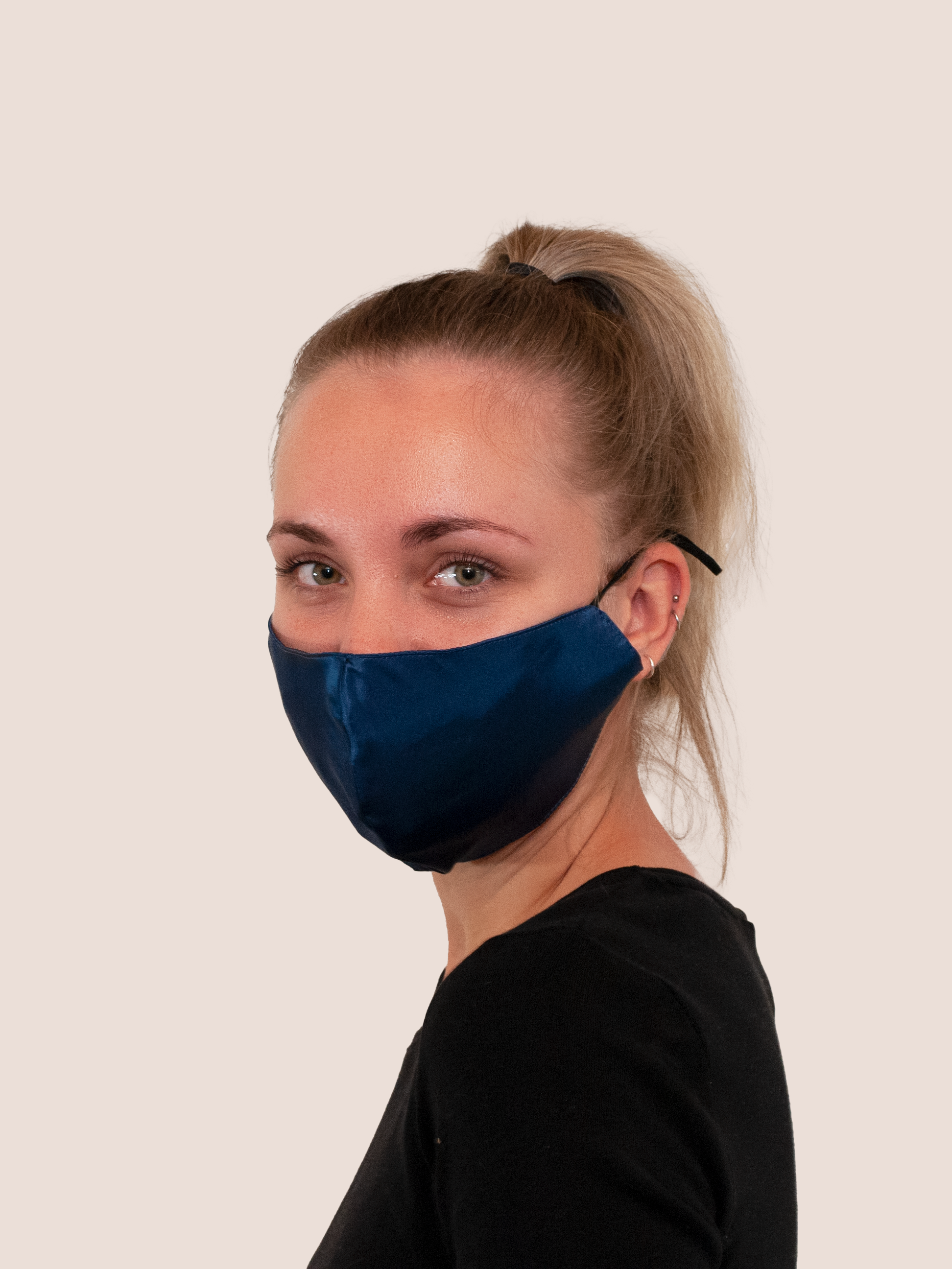 Navy blue silk face mask
