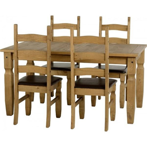 Corona 5ft Dining Set with brown seat pads