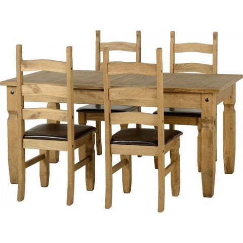 Corona Extending Dining Set with 4 chairs with brown seat pads