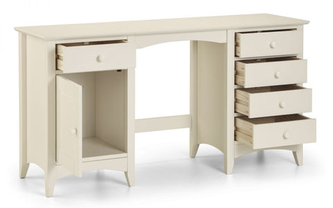 Cameo Twin Pedestal Dressing Table - Stone White