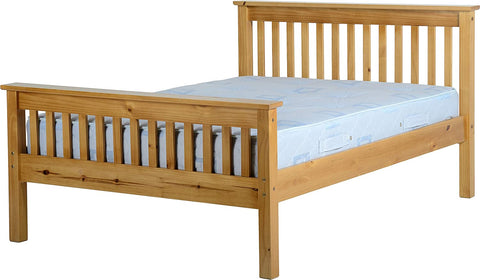 Monaco Oak High Foot End Bed Frame - Antique Pine