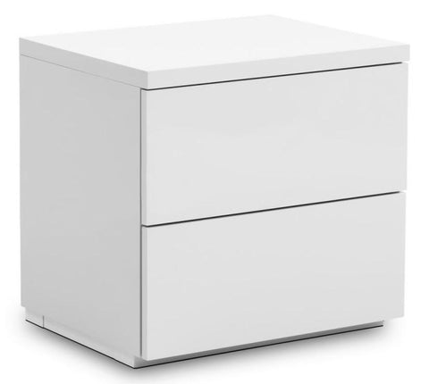 Monaco 2 Drawer Bedside Table - White High Gloss