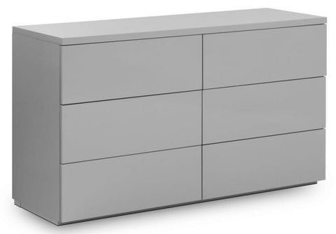 Monaco 6 Drawer Wide Chest Of Drawers - Grey High Gloss