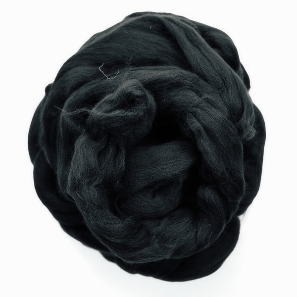 Portuguese merino wool top - Black (01)